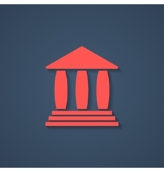 Red bank or greek colonnade icon with shadow vector
