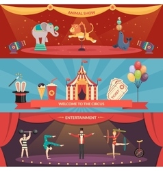 Circus performance horizontal banners vector