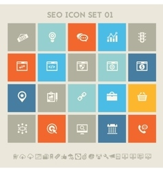 Seo icons set 1 multicolored square flat buttons vector