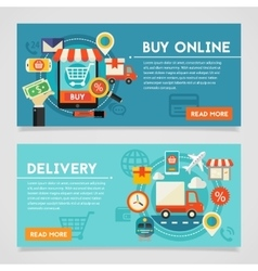Buy online and delivery concept vector
