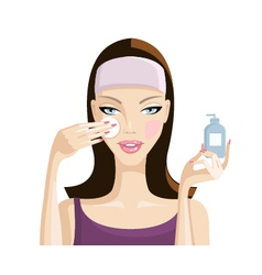 Girl washes away makeup from the face illus vector