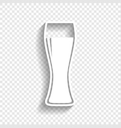 Beer glass sign white icon with soft vector