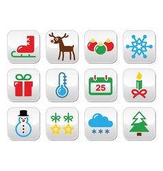Christmas winter buttons set vector