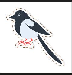 Cute magpie cartoon flat sticker or icon vector