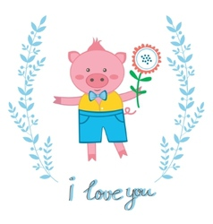 Cute pig in love vector image vector image