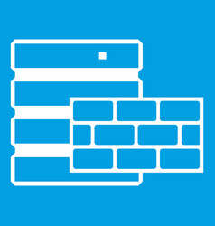 Database and brick wall icon white vector