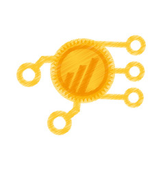 drawing worldcoin web icon vector image vector image