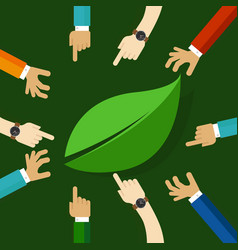 Eco friendly life represented with leaf hand vector