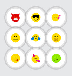 Flat icon emoji set of party time emoticon hush vector