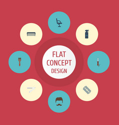 Flat icons elbow chair comb hairspray and other vector