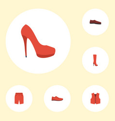 Flat icons man footwear heeled shoe waistcoat vector