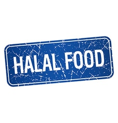 Halal food blue square grunge textured isolated vector