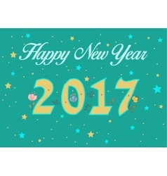 Happy new year 2017 floral decor vector
