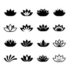Lotus flower icons set vector image vector image