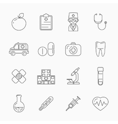 Medicine thin line icons vector image