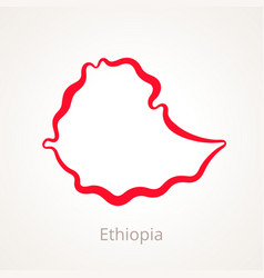 Outline map of ethiopia marked with red line vector