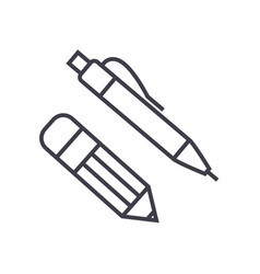 pen and pencil line icon sign vector image vector image