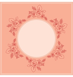 pink card with floral ornament vector image vector image