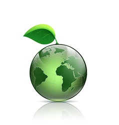 Planet earth with green leaf vector image