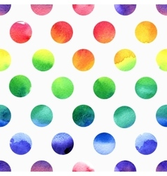 Rainbow watercolor seamless dots pattern vector image vector image