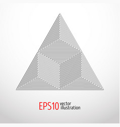 Realistic white triangle with high tech design for vector