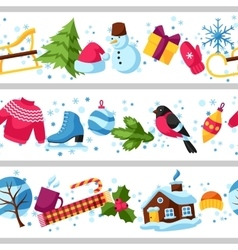 Seamless borders with winter objects merry vector