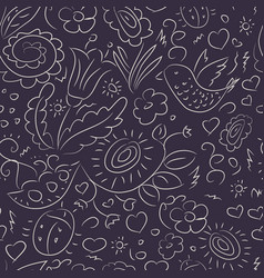 seamless pattern outline doodles bird flowers vector image