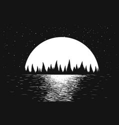seascape of night sea vector image