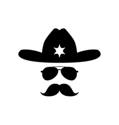sheriff with bushy mustache vector image vector image