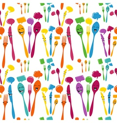 Silverware icons seamless pattern vector