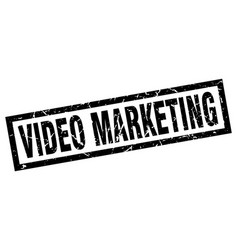 Square grunge black video marketing stamp vector