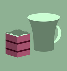 Sweet dessert in flat design cup of coffee and pie vector