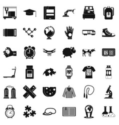 Swiss things icons set simple style vector
