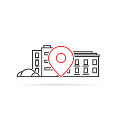 Thin line house geo location pinpoint vector