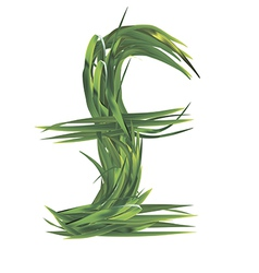 Uk pounds sign from grass vector