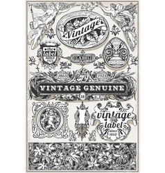 Vintage Hand Drawn Retro Labels vector image vector image