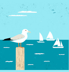 vitage poster with seagull and ships vector image vector image