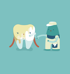 Whitening a tooth teeth and tooth concept of dent vector