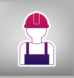 Worker sign purple gradient icon on white vector