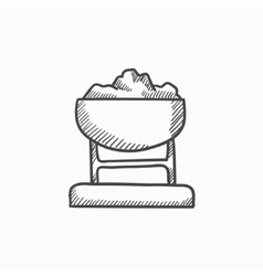Mine trolley full of coal sketch icon vector