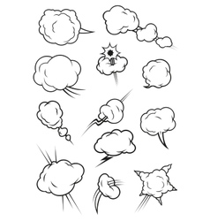 Puffing exploding steaming cloud cartoon icons vector