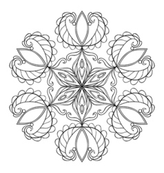 Black snow flake in zentangle doodle style mandala vector