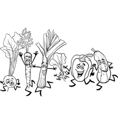 Running vegetables cartoon for coloring vector