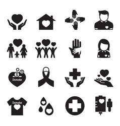 Give and protect icons set vector