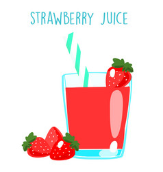 Fresh strawberry juice on white background xa vector