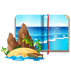 Scene with ocean and island vector