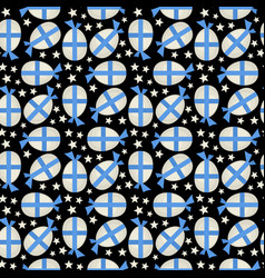 Egg with blue bow seamless pattern vector