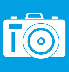 Photocamera icon white vector