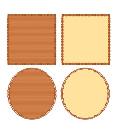 Frame circle and square wood and wicker vector