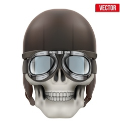 Human skull with retro aviator or biker helmet vector